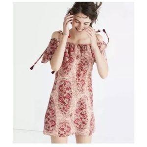 Madewell silk paisley off shoulder dress. Large.